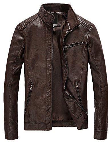 Youhan Men's Casual Zip Up Slim Bomber Faux Leather Jacket (Large, Coffee)