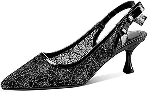 JIANXIN Baotou Sandales Femme Chat D'été avec avec avec 5cm avec Maille Noeud Creux Chaussures Noeud Papillon avec des Chaussures à Talons Hauts (Couleur   Noir, Taille   EU 37 US 6 UK 4 JP 24cm) c2e