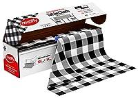 Neatiffy 使い捨てプラスチックテーブルクロスロール | 54インチ x 108フィート 防水テーブルクロス | 長方形、正方形、ラウンドオーバルテーブル用テーブルカバー | ピクニック、パーティー、宴会、誕生日用 - ブラックチェック柄