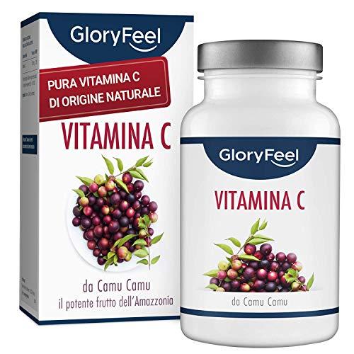 GloryFeel Vitamina C Naturale - 120 Capsule Vegane per 4 Mesi - 650mg Puro Estratto di Camu Camu per Capsula - Clinicamente Testato senza Additivi Artificiali - Qualità Tedesca