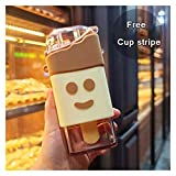 Straw cup New Summer Cute Donut Ice Cream Water Bottle With Straw Creative Square Watermelon Cup Portable Leakproof (Capacity : 301 400ml, Color : Snowman 300ml)