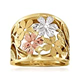 Ross-Simons Italian 14kt Tri-Colored Gold Floral Ring. Size 9