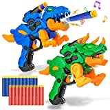 2 Pack Electric Blaster Guns Toy for Boys-Transforming Dinosaur Toys with 20 Foam Bullets Darts for Nerf Party Supplies-Hand Guns Set with Led Light for 4,5,6,7,8 Years Old Kids