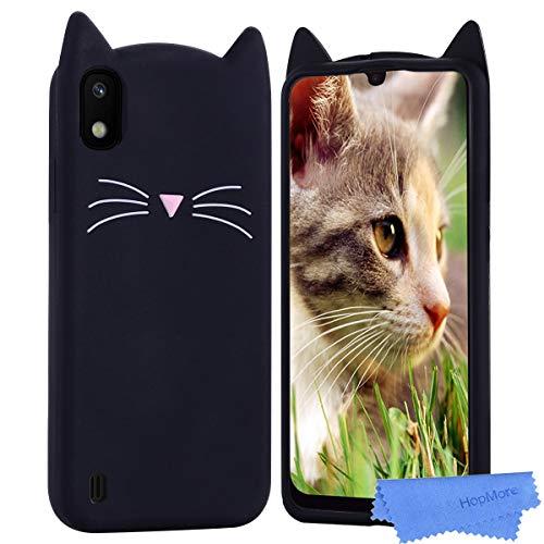 HopMore Kompatibel mit Samsung Galaxy A10 Silikon Hülle 3D Kawaii Kätzchen Tier Muster Stoßfest Galaxy A10 Handyhülle Schutzhülle Dünn Slim Case Cover - Schwarze Katze