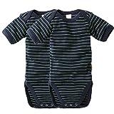 WELLYOU Conjunto de 2 Bodys Mangas Cortas para bebés, Color Azul Marino con...
