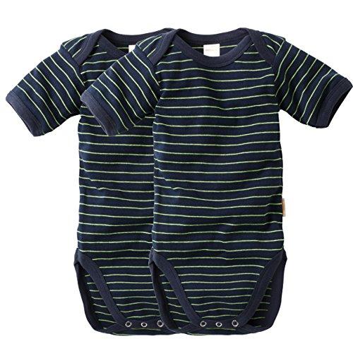 WELLYOU Conjunto de 2 Bodys Mangas Cortas para bebés, Color Azul Marino con Rayas Amarillo neón. Tallas 50-134