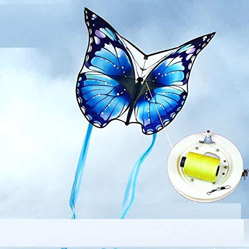 Drachenanfänger Kinderpaar Schmetterlingsdrachen großes besonderes Geschenk traditioneller Schmetterlingsdrachen-500m runder blauer Schmetterling