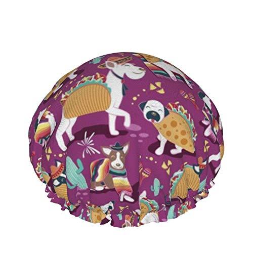Gorro de ducha Tacos mexicanos Equipo de perros Rosa oscuro Gorro de baño elástico de doble capa impermeable Uso en el hogar Gorro de dormir