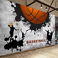 3D壁紙モダンクリエイティブパーソナリティバスケットボールスポーツ壁画レストランジム背景壁画3D紙壁画 300cm x 210cm