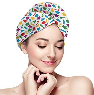 Dry hair turban - soft microfiber - comfortable fit,Kids Christmas,Colorful Silhouettes of Scattered Yuletide Icons Holly Candy Stars Candles,Multicolor