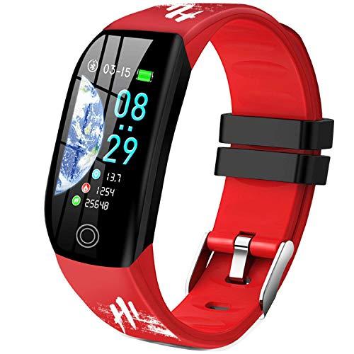 Smartwatch, Relojes Inteligentes Mujer Hombre Niños Impermeable IP68 Pulsera Actividad Inteligente con Pulsómetro Podómetro Monitor de Sueño Caloría Smart Watch para Android iOS (Rojo)