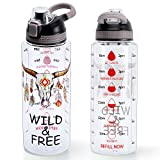 Home Tune 32oz Motivational Water Bottle with Time Marker, BPA Free Tritan & Leak Proof & Carry Handle & Unique Design & Easy Clean (Wild & Free)