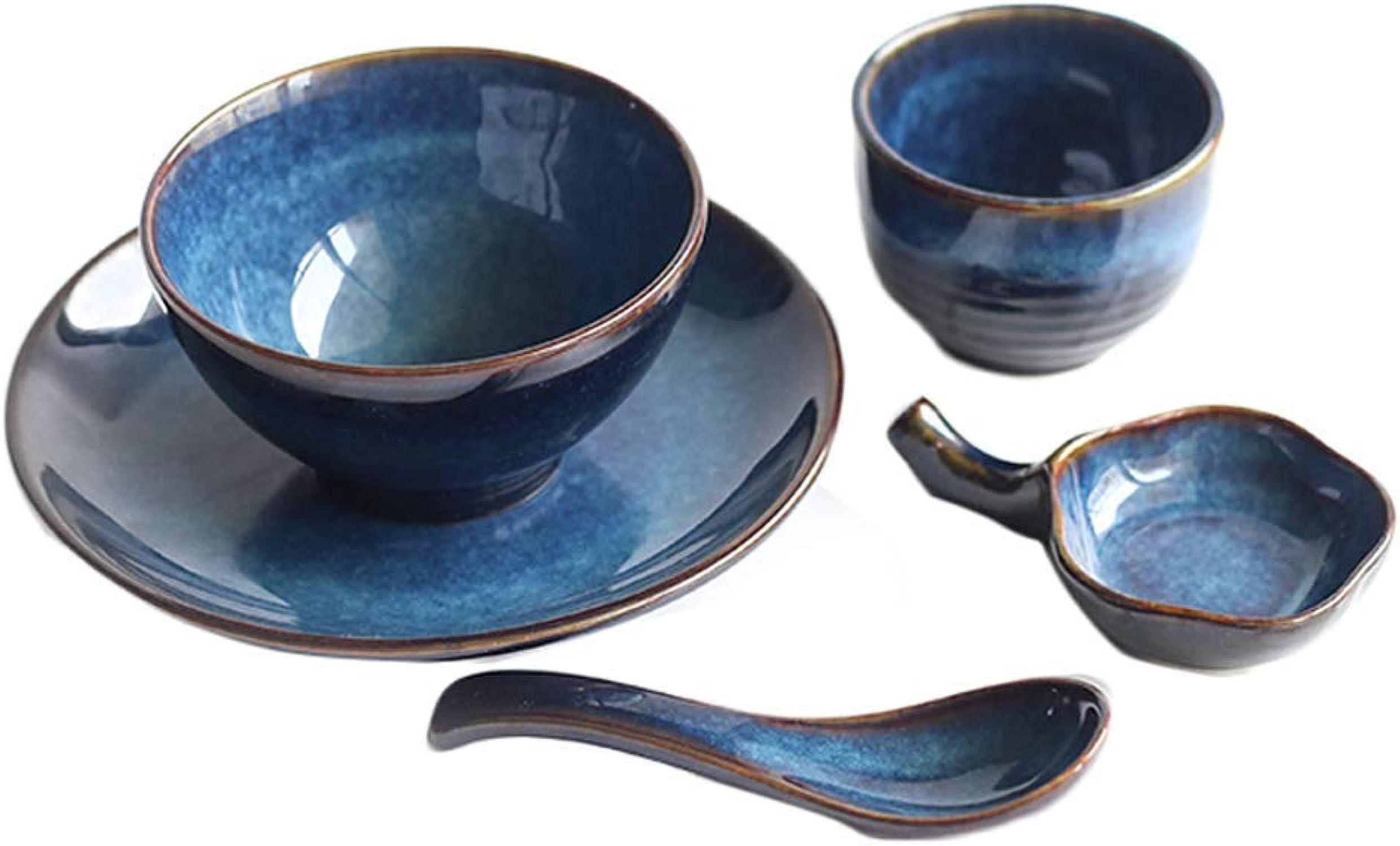 AFDK Bonne vie Vintage bleu vaisselle en céramique costume créatif assiette à salade collation bol à tremper bol de fruits cuillère à soupe après-midi thé thé petit déjeuner vaisselle