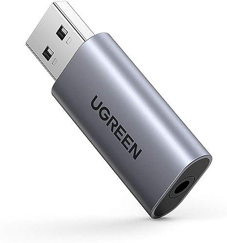 UGREEN Carte Son Externe Adaptateur USB Audio vers 3,5 mm Jack Compatible avec PC Ordinateur Portable Casque Gamer En...