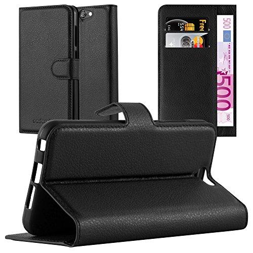 Cadorabo Hülle für HTC ONE A9 in Phantom SCHWARZ - Handyhülle mit Magnetverschluss, Standfunktion & Kartenfach - Hülle Cover Schutzhülle Etui Tasche Book Klapp Style