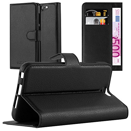 Cadorabo Book Case Works with HTC ONE A9 in Oxid Black – with Magnetic Closure, Stand Function and Card Slot – Wallet Etui Cover Pouch PU Leather Flip