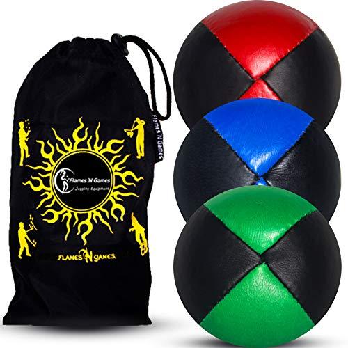 Juego de 3 bolas de malla, de piel muy duraderas (cuero) para hacer jonglerie Beanbag y bolsa de viaje (negro-verde/azul/rojo)