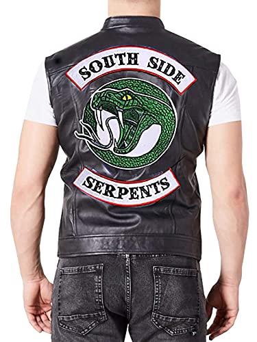 Riverdale Biker Motorcycle Southside Serpents - Chaleco de piel con tachuelas para hombre
