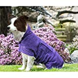 UOMIO Dog Drying Coat Bathrobe Towel, Puppy Towelling Robe, Double-layer Microfiber Absorb Moisture and Dry Pet Quickly, Adjustable Collar and Waist - 51cm Back Length for Medium Dog