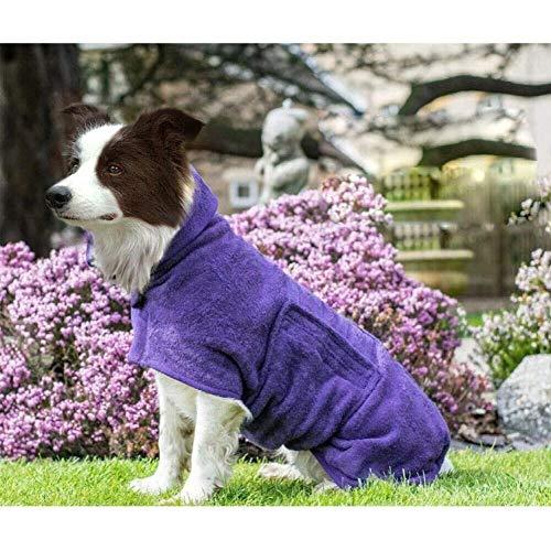 Bademantel Hund, Hundebademantel, Super Absorbierende Mikrofaser Feuchtigkeit Schnell Aufnehmen, Der Kragen und die Taille Können in der Größe Angepasst Werden