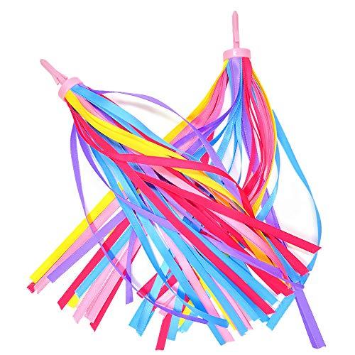 obqo 2 pcs Childrens Bike Streamers Rainbow Bicycle Handlebar Streamers Bike Grips Tassels Ribbons Kids bike Accessories