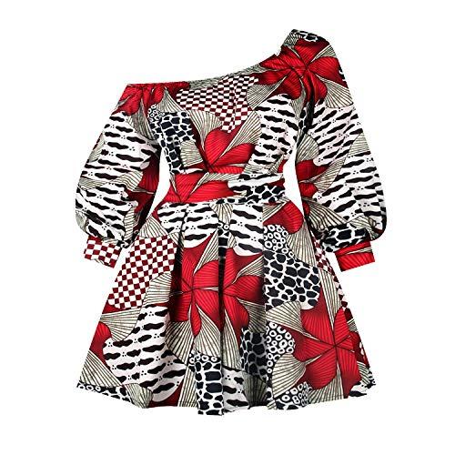 Vestito da donna africano a maniche lunghe, senza spalle, cocktail africano retrò Rockabilly sexy singolo collo a spalla fiori stampa Rock Colore: rosso M