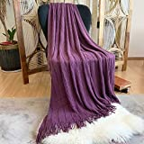 DISSA Knitted Blanket Super Soft Textured Solid Cozy Plush Lightweight Decorative Throw Blanket with Tassels Fluffy Woven Blanket for Bed Sofa Couch Cover Living Bed Room (Lavender, 50'x60')
