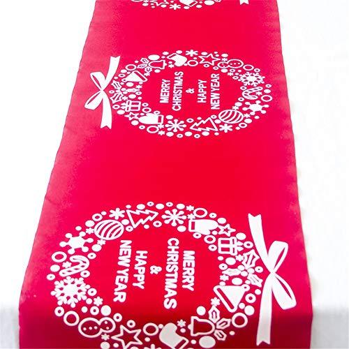 Morbuy Runner da Tavola di Natale Tovaglia Decorativa in Lino Decorazioni per La Casa per La Cena di Natale Table Runner Tavolo Panno (28 * 270cm,Ghirlanda di Natale)