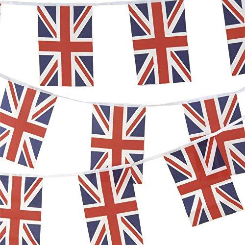 Stoff-Wimpelkette Union Jack, 10m, 30 Flaggen, 100prozent Stoff