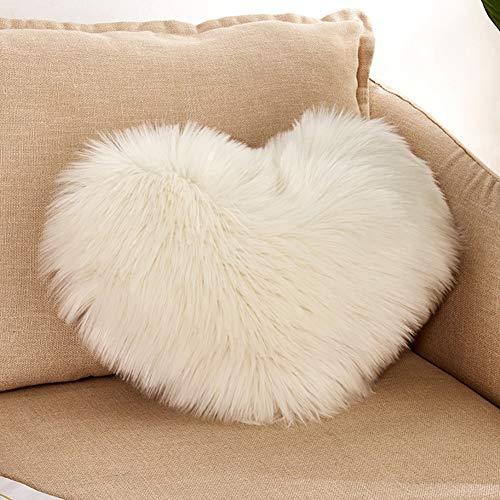 Lionina - Cojín de pelo sintético mullido, 40 x 50 cm, liso, con forma de corazón, ideal para decorar el sofá del coche, a, Tamaño libre