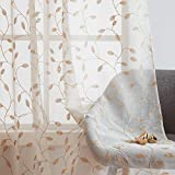 Embroidered Leaf Sheer Curtains 84 inch for Living Room Natural Linen Look Window
