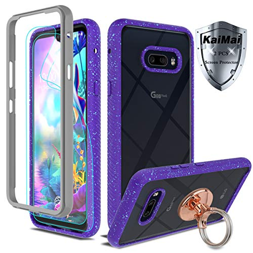 KaiMai Compatible for LG G8X ThinQ Case with HD Screen Protector (2Pack with Ring Holder,Clear Bumper Shock Absorption Heavy Duty Protective Phone Case for LG G8X ThinQ-XF-Pueple+Ring