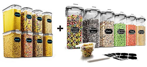 Wildone 8pcs Airtight Storage Containers and 6pcs Cereal Storage Containers