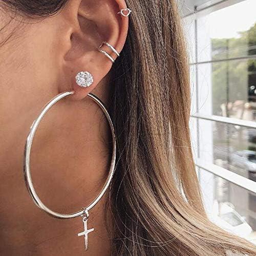 Missgrace Big Silver Circle Cross Drop Earrings Rhinestones Hoop Stud Earrings for Women Modern product image