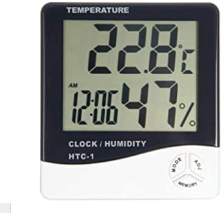 HTC-1 Digital Thermometer Hygrometer Clock Alarm/Alarm Calendar 5 Functions Large Screen Desktop Stand & Wall Mount White ...