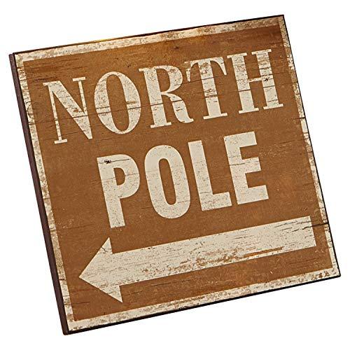 Loberon Deko-Schild North Pole, MDF, H/B/T ca. 25,5/30,5/1,2 cm, braun