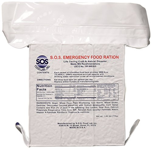 """SOS Food Labs, Inc. 185000825 S.O.S. Rations Emergency 3600 Calorie Food bar - 3 Day/ 72 Hour Package with 5 Year Shelf Life, 5"""" Height, 2"""" Wide, 4.5"""" Length"""