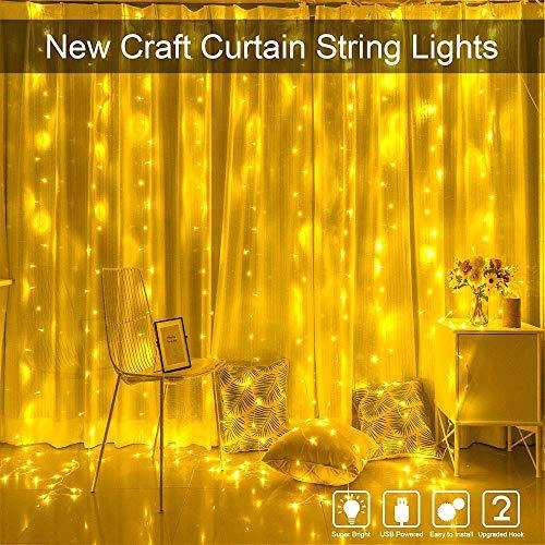 Preisvergleich Produktbild LED Lichtervorhang 300 LED Lichterkettenvorhang Vorhang Lichter 3M×3M IP65 Wasserfest 8 Modi Lichterkette Deko für Weihnachten Garten Party Hochzeit Schlafzimmer Innen,  Warmweiß