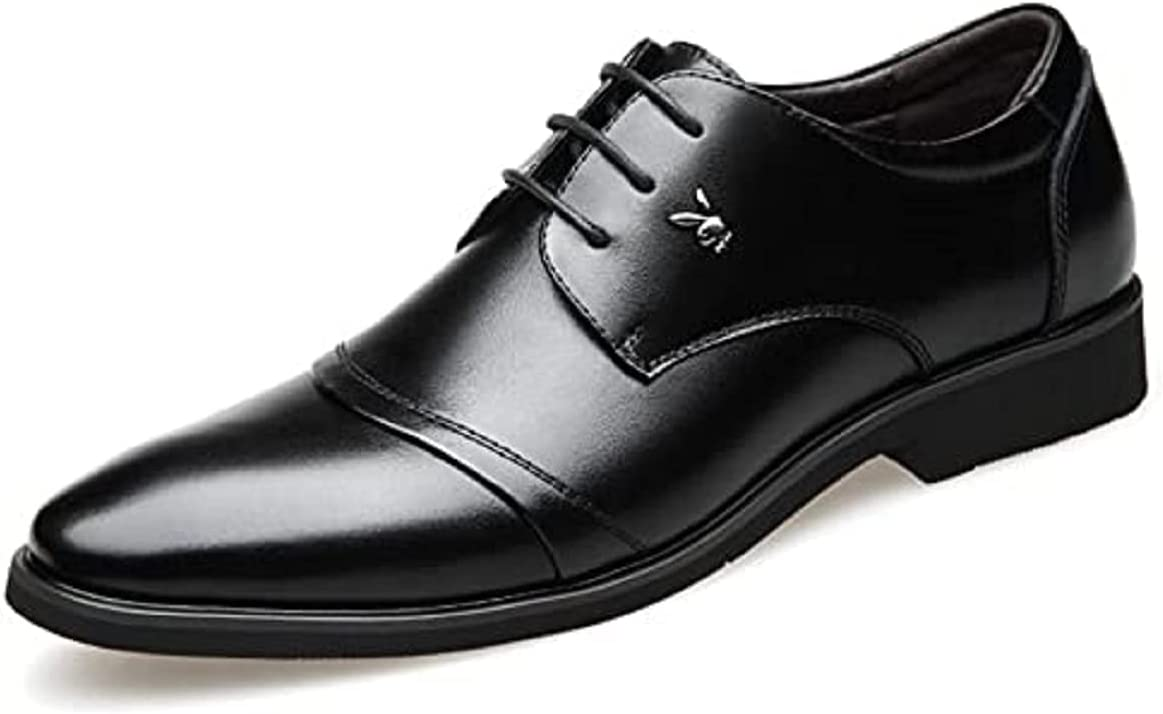 LHRFC Leather Shoes Men's Business Formal Wear Casual Korean Version with 6cm Height Inside The Pointed Toe British Fashion Wedding Shoes Black-EU40