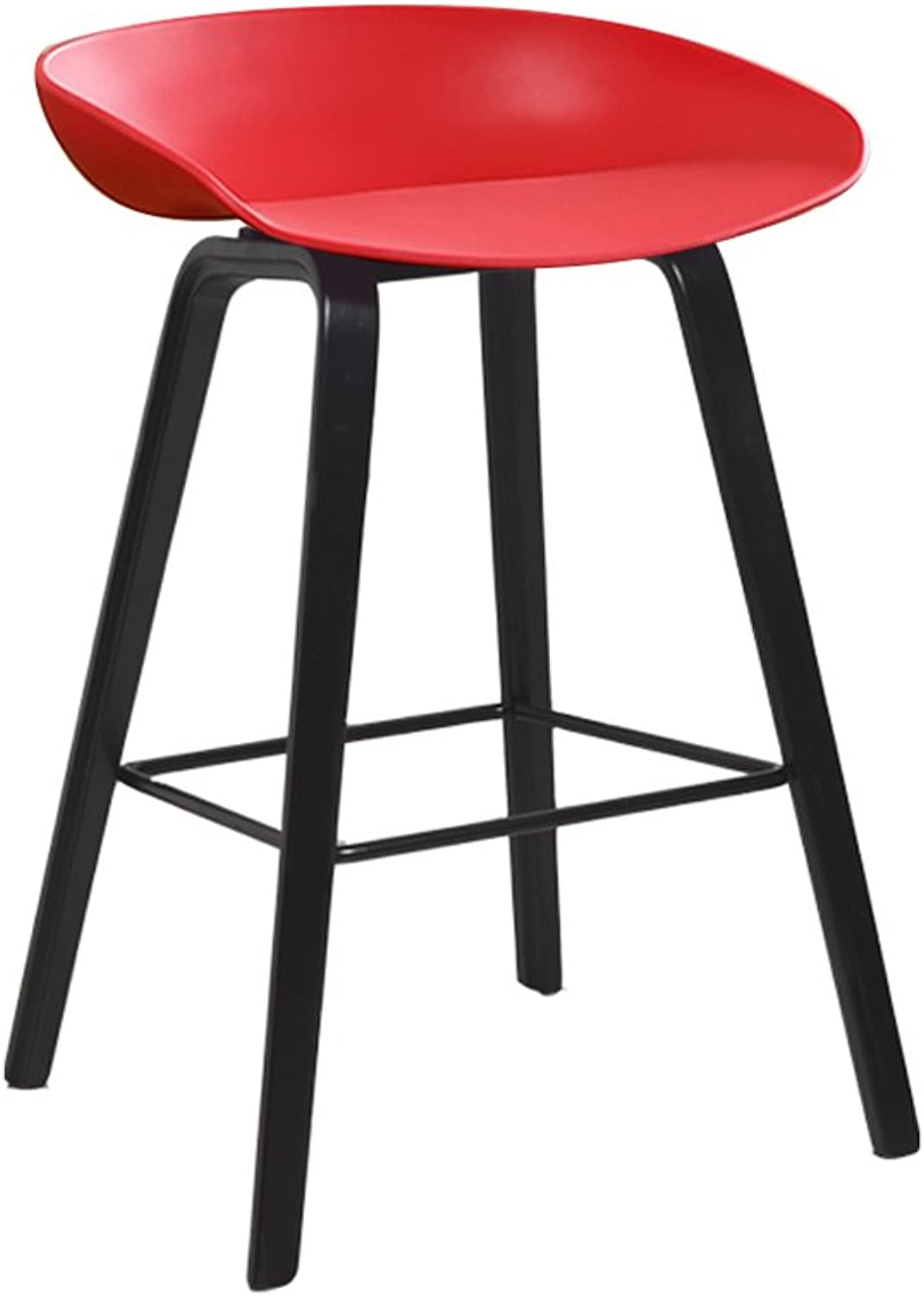 Ghjkl Bamboo Pole Wooden bar Chair Creative bar Stool Modern Minimalist bar Stool high Stool Home high stoolSeat Height 65cm -by TIANTA (color   RED)