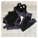 Youpin Conjunto de fitness sin costuras para mujer, camiseta de manga larga, sujetador deportivo, leggings elásticos para correr, cintura alta, pantalones de yoga (color: gris set 3 piezas, tamaño: L)