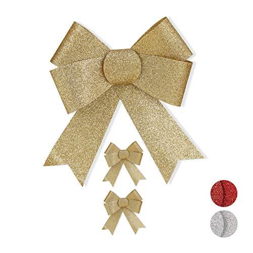 Relaxdays Geschenkschleife Glitzer, 3er Set, große Zierschleife Geburtstag, Weihnachten, Dekoschleifen Geschenk, gold
