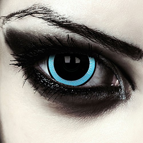 Schwarz blaue Mini Sclera Kontaktlinsen 17mm Vampir Halloween Farblinsen + Gratis Kontaktlinsenbehälter (Galactic)