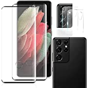 [2+2 Pack] Galaxy S21 Ultra Full Coverage 9H Hardness HD Screen Protector with Lens Protector, Ultra Thin Screen Glass Protective Film Compatible with Samsung Galaxy S21U