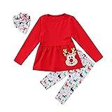 Christmas Toddler Girl Clothes Ruffles Irregular Mini Dress Tops+Long Pant Scarf 3PCS Clothing Set (tag: 90/1-2 Years, Red)