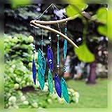 CRISTALICA Fensterschmuck Windspiel Suncatcher Blätterspirale Blau Türkis 36 cm