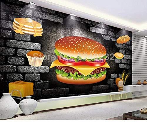 ZGHONG aangepaste foto wallpaper 3D stereoscopische hamburger poster decoratie muurschildering papel de Parede 3D brood koffie winkel tooling achtergrond 350 x 245 cm.