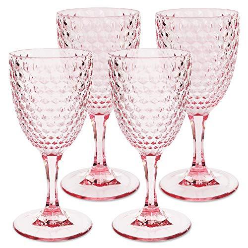 BELLAFORTE - Shatterproof Tritan Wine Glass Pink, 12oz, set of 4, Laguna Beach Drinking Glasses - Unbreakable Glassware for Indoor and Outdoor Use - Reusable Drinkware