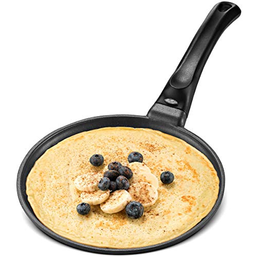 GOURMEX Black Induction Crepe Pan, With PFOA Free Nonstick Coating | Ideal Induction Pan for Egg Omelet and Flat Pancake | Cookware Compatible With All Heat Sources | Dishwasher Safe (8.5')