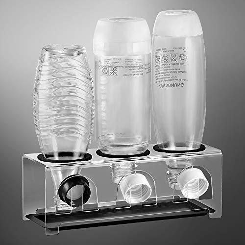 ecooe Abtropfhalter aus Acrylglas mit Abtropfwanne und Kantenschutzringe/Abtropfständer für SodaStream und Emil Flaschen Für 3 Flaschen und 3 Deckel/Flaschenhalter Spülmaschinenfest